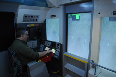 'Crash' Paxton at the controls of a London Underground simulator.